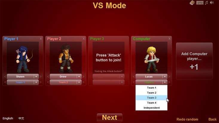 Character choosing menu in VS mode